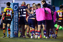 Jordan Crane of Bristol Rugby celebrates scoring a try with team mates - Mandatory by-line: Dougie Allward/JMP - 30/12/2017 - RUGBY - The Athletic Ground - Richmond, England - Richmond v Bristol Rugby - Greene King IPA Championship