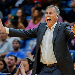 Jan 26, 2018; New Orleans, LA, USA; Houston Rockets head coach Mike D'Antoni reacts to a play during the second half against the New Orleans Pelicans at the Smoothie King Center. Pelicans defeated the Rockets 115-113. Mandatory Credit: Derick E. Hingle-USA TODAY Sports