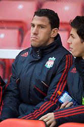 STOKE, ENGLAND - Saturday, January 16, 2010: Liverpool's new signing Maxi Rodriguez on the substitute's bench before the Premiership match against Stoke City at the Britannia Stadium. (Photo by David Rawcliffe/Propaganda)