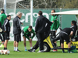 March 7, 2018 - Na - Alcochete, 03/03/2018 - Sporting CP trained this morning before the game with Plzen for the Europa League 2017/18, at the Academy of Sporting in Alcochete. Jorge Jesus, Piccini, Bas Dost  (Credit Image: © Atlantico Press via ZUMA Wire)