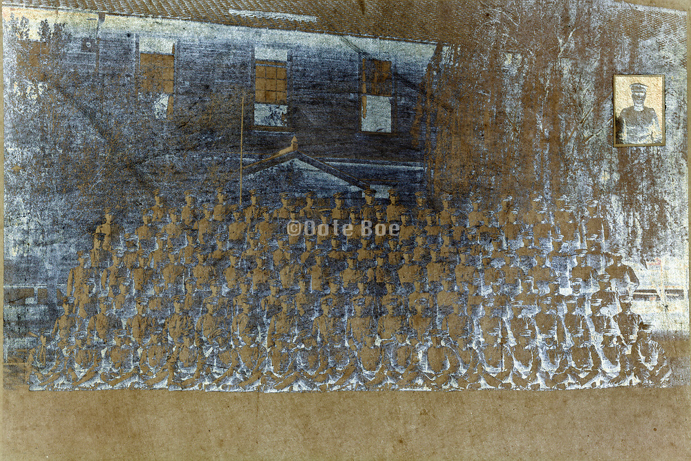 near faded photograph of army group 1921 Japan