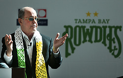 October 2, 2018 - St. Petersburg, Florida, U.S. - BILL EDWARDS addresses the audience during a press conference to announce the Rays buying the Rowdies at Mahaffey Theatre, 400 1st St S, in St. Petersburg, Tuesday morning. (Credit Image: © Dirk Shadd/Tampa Bay Times via ZUMA Wire)