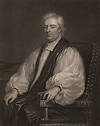John Tillotson (1630-1694) English churchman, born at Sowerby, Yorkshire.  Archbishop of Canterbury 1691-1694.   Engraving after the portrait by Godfrey Kneller.