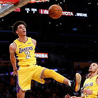 02 October 2017: Los Angeles Lakers guard Lonzo Ball (2) goes for the alley-oop dunk during the Denver Nuggets 113-107 victory over the LA Lakers, at the Staples Center, Los Angeles, California, USA.