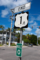 Mile 0 sign at the end of US Hwy 1, Key West, Florida, United States of America
