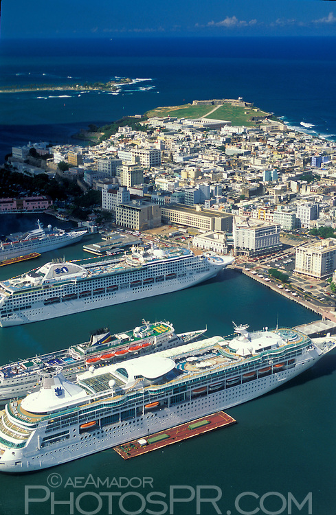Aerial view of cruise ships docked at San Juan harbor