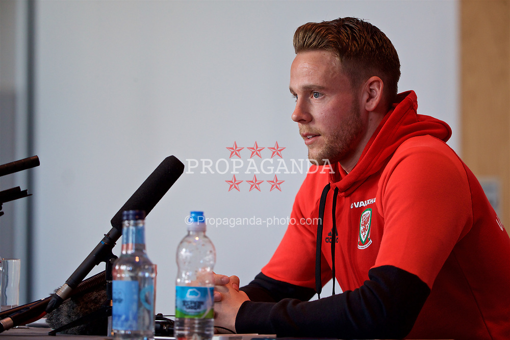 CARDIFF, WALES - Wednesday, March 22, 2017: Wales' Chris Gunter during a press conference at the Vale Resort ahead of the 2018 FIFA World Cup Qualifying Group D match against Republic of Ireland. (Pic by David Rawcliffe/Propaganda)