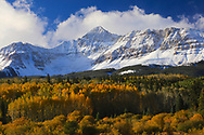 Wilson Peak with snow and autumn colors of the Colorado Rocky Mountains
