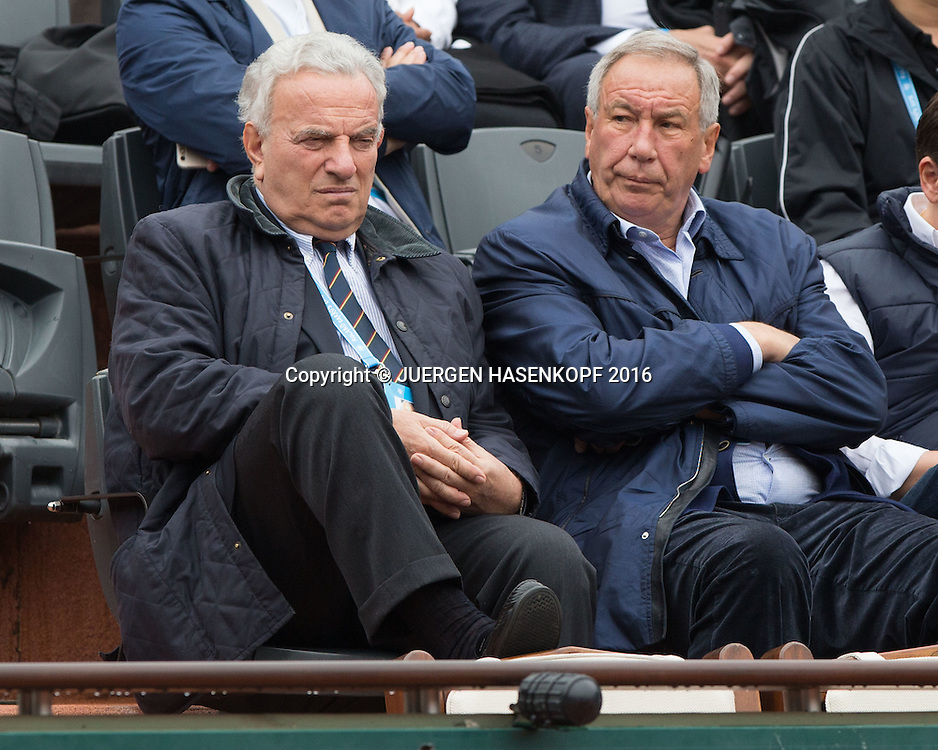 French Open 2016 Feature,L-R. ex ITF Praesident RicciBitti und Russian Tennis Federation Praesident  Shamil Tarpischev in der Ehrenloge bei einem Damenspiel,<br /> <br /> Tennis - French Open 2016 - Grand Slam ITF / ATP / WTA -  Roland Garros - Paris -  - France  - 29 May 2016.