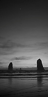 The Needles-B&amp;W. Cannon Beach, Oregon - 4/21/12<br /> Just south of the famous Haystack Rock are a few smaller, but equally memorable daggers of rock appropriately called The Needles. In this shot they seem to be pointing towards the appearance of Saturn, high in the sky.