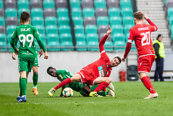 Boakye Eric of NK Olimpija Ljubljana and Suljic Asmir of NK Olimpija Ljubljana vs Hrovat Mario Lucas of NK Aluminij and Muminovic Sanin of NK Aluminij during football match between NK Olimpija Ljubljana and NK Aluminij in Round #27 of Prva liga Telekom Slovenije 2018/19, on April 14th, 2019 in Stadium Stozice, Slovenia Photo by Matic Ritonja / Sportida