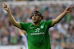 25.09.2011, Weser Stadion, Bremen, GER, 1.FBL, Werder Bremen vs Hertha BSC, im Bild.Jubnel Claudio Pizarro (Bremen #24).// during the Match GER, 1.FBL, Werder Bremen vs Hertha BSC on 2011/09/25,  Weser Stadion, Bremen, Germany..EXPA Pictures © 2011, PhotoCredit: EXPA/ nph/  Gumz       ****** out of GER / CRO  / BEL ******