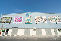 Paintings on warehouse wall at Alserkal art district in Al Quoz Dubai United Arab Emirates