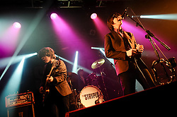 © Licensed to London News Pictures. 12/09/2013. London, UK.   The Strypes performing live at Electric Ballroom. The Strypes are an Irish four-piece rhythm and blues band, consisting of Ross Farrelly (lead vocals/harmonica), Josh McClorey (lead guitar/vocals), Pete O'Hanlon (bass guitar/harmonica) and Evan Walsh (drums).  Photo credit : Richard Isaac/LNP