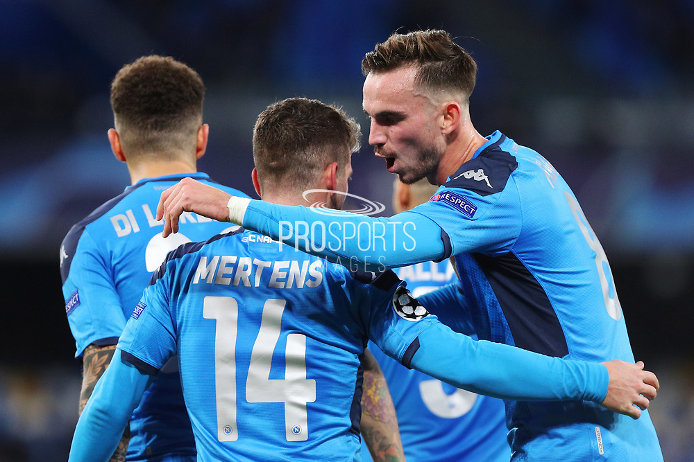 Dries Mertens celebrates with his teammates after scoring 4-0 goal by penalty during the UEFA Champions League, Group E football match between SSC Napoli and KRC Genk on December 10, 2019 at Stadio San Paolo in Naples, Italy - Photo Federico Proietti / ProSportsImages / DPPI