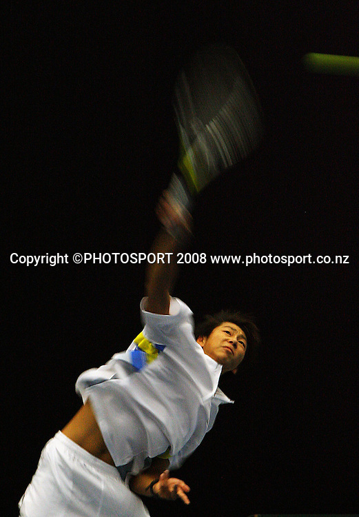 Yan Bai serves to Daniel King-Turner.<br /> Davis Cup Tennis singles, final day - New Zealand v China at TSB Stadium, New Plymouth, New Zealand. Sunday, 21 September 2008. Photo: Dave Lintott/PHOTOSPORT