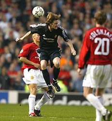 MANCHESTER, ENGLAND - Wednesday, April 23, 2003: Real Madrid's Steve McManaman in action against Manchester United during the UEFA Champions League Quarter Final 2nd Leg match at Old Trafford. (Pic by David Rawcliffe/Propaganda)