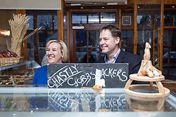 © Licensed to London News Pictures . 13/01/2015 . Stockport , UK . Deputy Prime Minister Nick Clegg (r) visits Cowburn's Family Backery on High Lane in Hazel Grove with Lib Dem PPC for Hazel Grove , Lisa Smart (l) . Photo credit : Joel Goodman/LNP