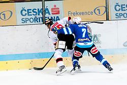 19.10.2012, Hostan Arena, Znojmo, CZE, EBEL, HC Orli Znojmo vs EC Villacher SV, 13. Runde, im Jiri Beroun (Znojmo #30) Klement Pretnar (Villacher #7) // during the Erste Bank Icehockey League 13nd round match betweeen HC Orli Znojmo and EC Villacher SV at the Hostan Arena, Znojmo, Czech Republic on 2012/10/19. EXPA Pictures © 2012, PhotoCredit: EXPA/ Rostislav Pfeffer