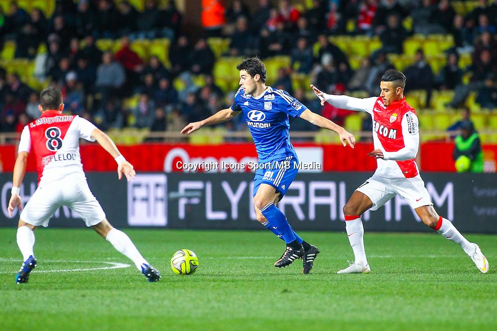 Yoann GOURCUFF / Nabil DIRAR - 01.02.2015 - Monaco / Lyon - 23eme journee de Ligue 1 -<br /> Photo : Serge Haouzi / Icon Sport