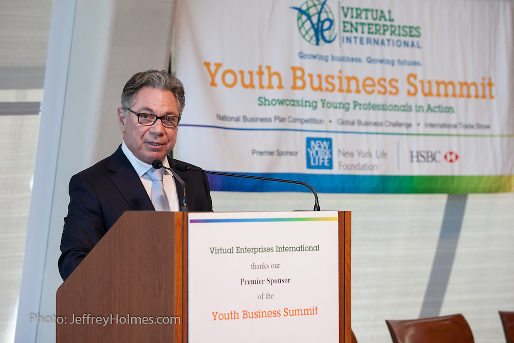 Joe Dussich, CEO of American Bulb and Mint-X Corporations, was a keynot speaker at Virtual Enterprises International's Global Business Challenge was part of the Youth Business Summit held at NYU's Kimmel Center in New York on April 1, 2014. (Photo: JeffreyHolmes.com)