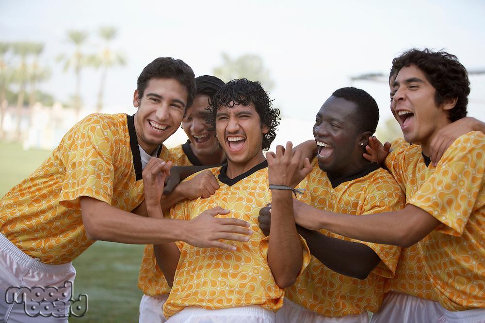 Cheering soccer team portrait