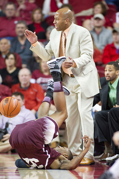 FAYETTEVILLE, AR - JANUARY 23:  Head Coach Rick Ray of the Mississippi State Bulldogs reacts to a play against the Arkansas Razorbacks at Bud Walton Arena on January 23, 2013 in Fayetteville, Arkansas. The Razorbacks defeated the Bulldogs 96-70.  (Photo by Wesley Hitt/Getty Images) *** Local Caption *** Rick Ray