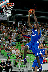 Livio Jean-Charles of France dunks during basketball match between National teams of Slovenia and France in Quarterfinal Match of U20 Men European Championship Slovenia 2012, on July 20, 2012 in SRC Stozice, Ljubljana, Slovenia. (Photo by Matic Klansek Velej / Sportida.com)