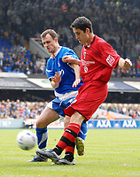 Photo: Ashley Pickering.<br /> Ipswich Town v Cardiff City. Coca Cola Championship. 06/05/2007.<br /> Peter Whittington of Cardiff (R) gets a cross in past Francis Jeffers of Ipswich
