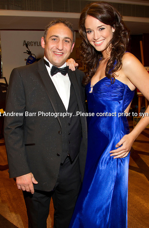 08/09/2011.Water and Waves Gala diner anbd Fashion show at The Crowne Plaza, Glasgow in aid of the Fishermens Mission...Former boxer Gary Jacobs meets Miss Scotland 2011 Jennifer Reoch. .Pic:Andy Barr.07974 923919  (mobile).andy_snap@mac.com.All pictures copyright Andrew Barr Photography. .Please contact before any syndication. .