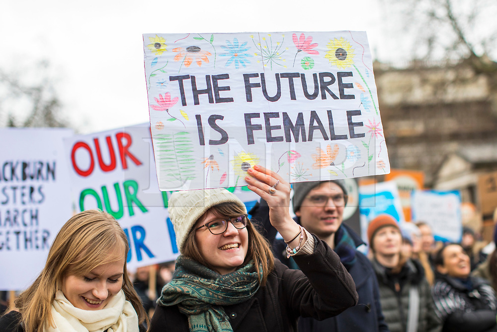 © Licensed to London News Pictures. 04/03/2018. London, UK. Demonstrators at March 4 Women in central London, ahead of International Women's Day, to mark the centenary of the Representation of the People's Act 1918 by retracing the steps of the Suffragettes from Parliament to Trafalgar Square. Photo credit: Rob Pinney/LNP