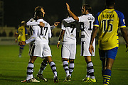 Forest Green Rovers players celebrate going 1-0 ahead during the Vanarama National League match between Solihull Moors and Forest Green Rovers at the Automated Technology Group Stadium, Solihull, United Kingdom on 25 October 2016. Photo by Shane Healey.