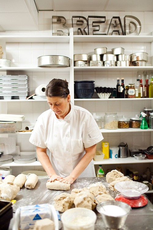 Baker, Diane Dinsdale bakes bread in 'The Angels Share, a bakerie in the Station, Richmond Yorkshire.