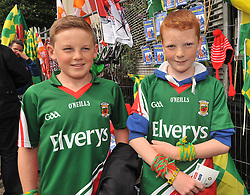 Cousins Patrick and Johnny O'Sullivan supporting Mayo in the quarter final against Cork on sunday.<br />Pic Conor McKeown