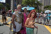 A mermaid family.