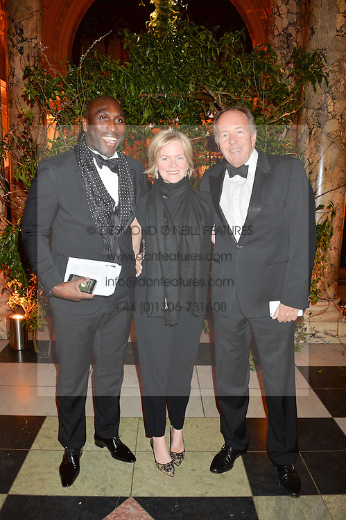 Left to right, SOL CAMPBELL and LORD & LADY BRUCE DUNDAS at the inaugural dinner for The Queen Elizabeth Scholarship Trust hosted by Viscount Linley at the V&A museum, London on 25th February 2016.