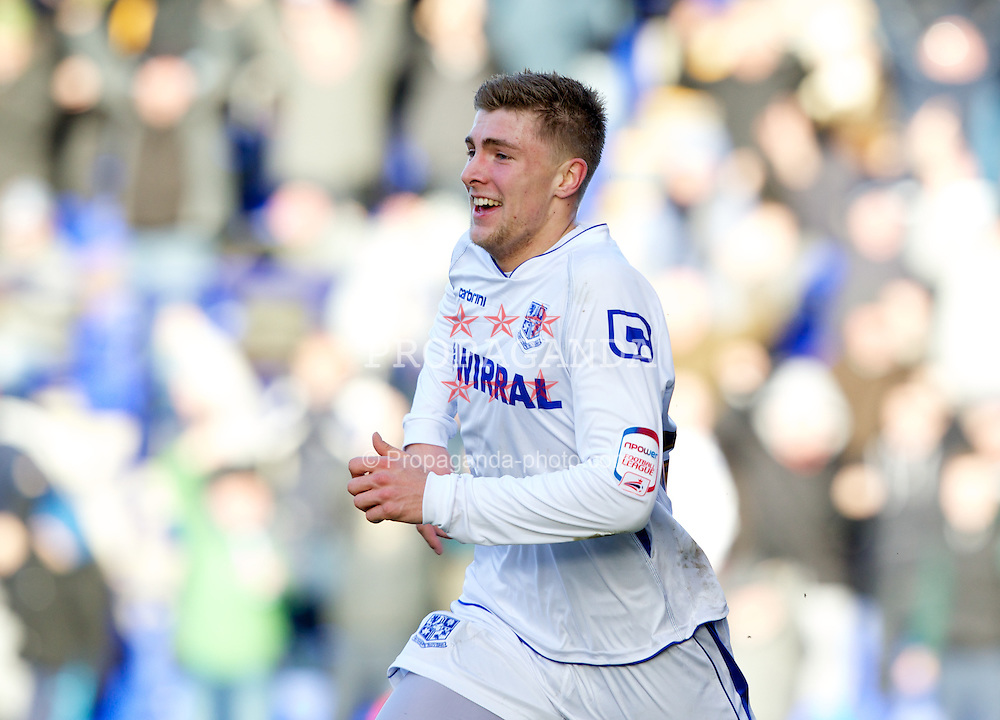 BIRKENHEAD, ENGLAND - Saturday, February 18, 2012: Tranmere Rovers' Ryan Brunt celebrates scoring the first goal against Charlton Athletic during the Football League One match at Prenton Park. (Pic by Vegard Grott/Propaganda)
