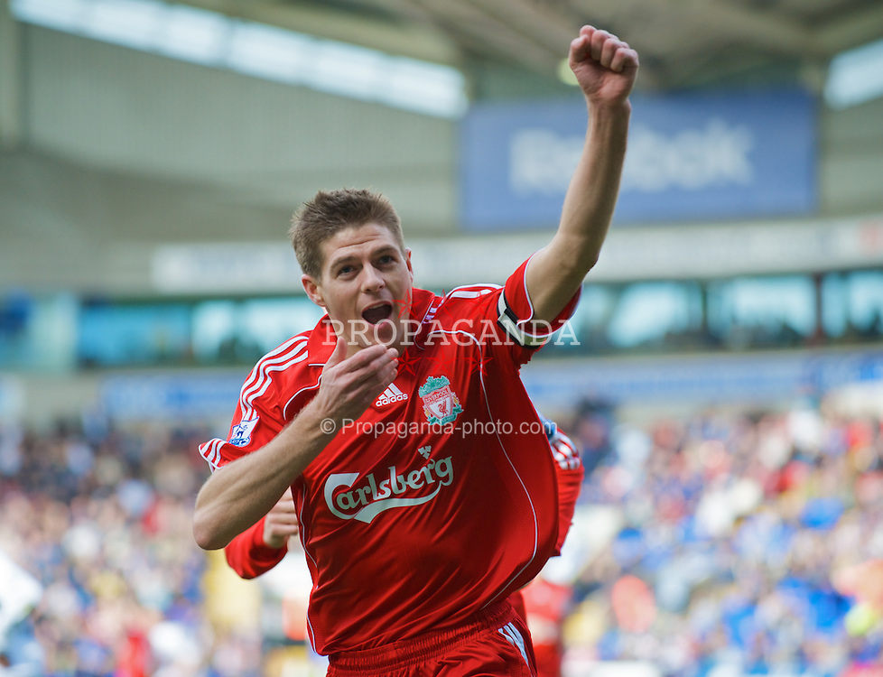 BOLTON, ENGLAND - Sunday, March 2, 2008: Liverpool's captain Steven Gerrard MBE celebrates scoring the opening goal against Bolton Wanderers during the Premiership match at the Reebok Stadium. (Photo by David Rawcliffe/Propaganda)