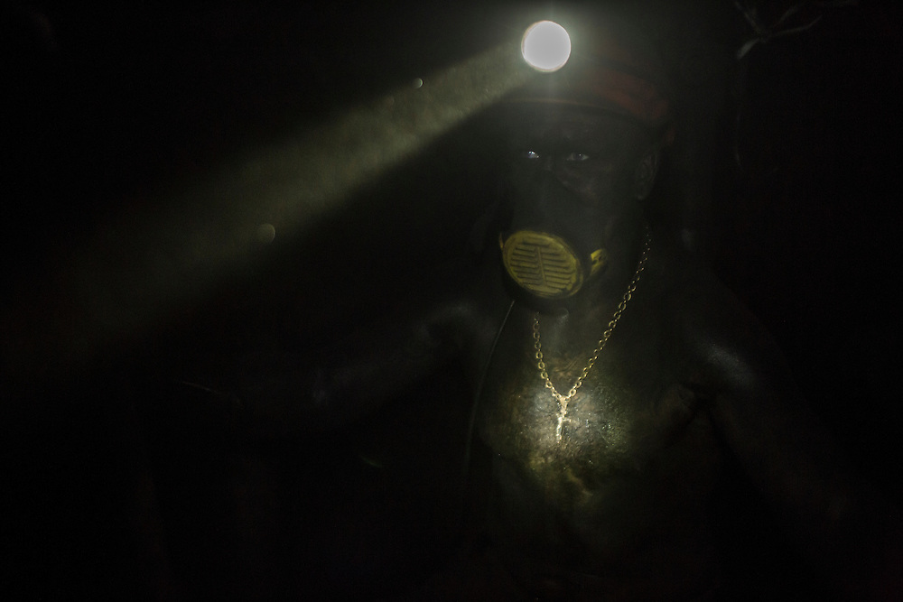 A miner at the coal face 1300 meters underground at the Shcheglovskaya Coal Mine on Friday, March 25, 2016 in Makiivka, Ukraine.
