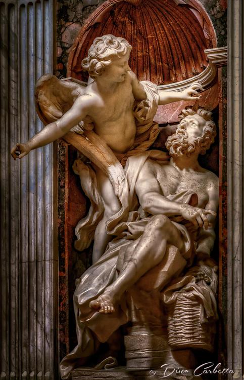 """Habakkuk and the Angel (Bernini) - Basilica of Santa Maria del Popolo Chigi Chapel""..."