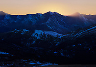 Sunset in the high Country of Rocky Mountain National Park, Colorado, USA