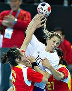 London Handball Cup - China vs Slovakia - Locia Sukennikova (SVK), Bing Li (CHN), Jiaqin Zhao (CHN)