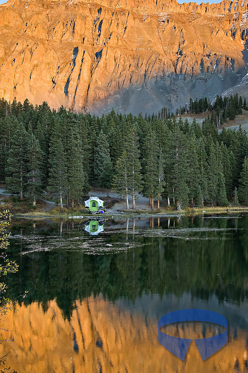 SylvanSport GO camper trailer set up at Alta Lakes near Telluride, Colorado.