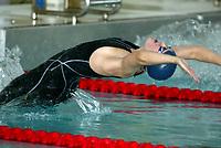Svømming - NM i langbane Piranlegget Trondheim 6. juli 2002. Ann Kristin Aamodt fra Tromsø vant overraskende 50 meter rygg for damer. <br /> <br /> Foto: Andreas Fadum, Digitalsport