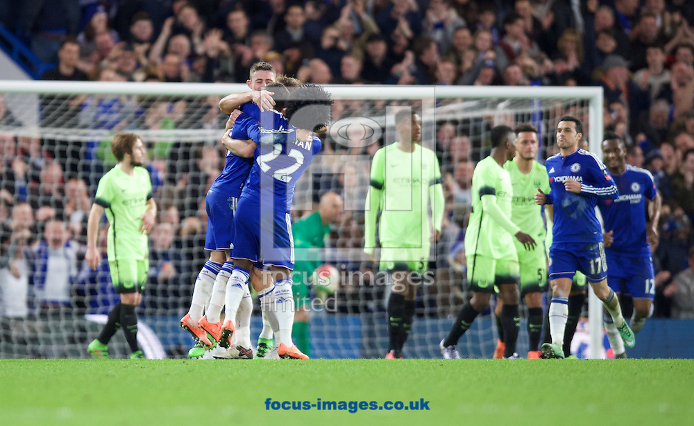 Chelsea players celebrate their fourth goal to make it 4-1during the FA Cup match at Stamford Bridge, London<br /> Picture by Alan Stanford/Focus Images Ltd +44 7915 056117<br /> 21/02/2016