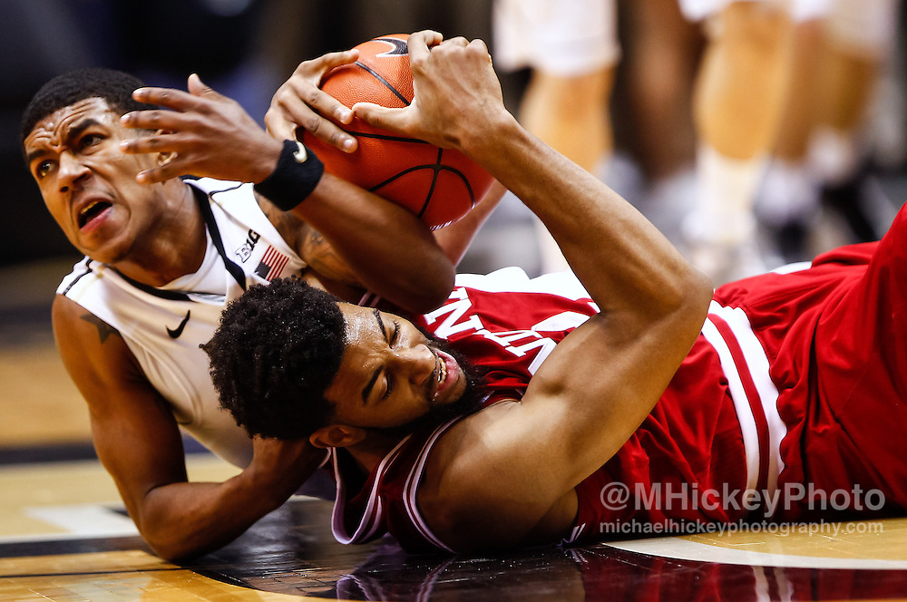 WEST LAFAYETTE, IN - JANUARY 30: Terone Johnson #0 of the Purdue Boilermakers and Christian Watford #2 of the Indiana Hoosiers fight for the ball at Mackey Arena on January 30, 2013 in West Lafayette, Indiana. (Photo by Michael Hickey/Getty Images) *** Local Caption *** Terone Johnson; Christian Watford
