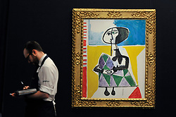 "© Licensed to London News Pictures. 15/06/2017. London, UK. ""Femme accroupie"", 1954, by Pablo Picasso (estimate GBP6.5-8.5m).  Preview of Impressionist and Modern art sale, which will take place at Sotheby's New Bond Street on 21 June.  Photo credit : Stephen Chung/LNP"