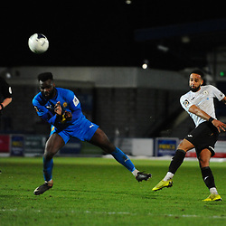 TELFORD COPYRIGHT MIKE SHERIDAN Brendon Daniels of Telford fires high and wide during the FA Trophy Round 1 fixture between AFC Telford United and Leamington at the New Bucks head Stadium on Tuesday, December 17, 2019.<br /> <br /> Picture credit: Mike Sheridan/Ultrapress<br /> <br /> MS201920-034