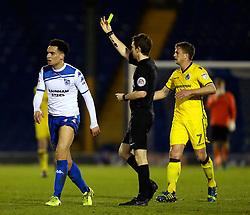 Kean Bryan of Bury receives a yellow card  - Mandatory by-line: Matt McNulty/JMP - 14/03/2017 - FOOTBALL - Gigg Lane - Bury, England - Bury v Bristol Rovers - Sky Bet League One