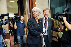 Christine Lagarde, France's finance minister, arrives for the Eurogroup meeting at EU headquarters in Brussels, Monday, July 6, 2009. (Photo © Jock Fistick)
